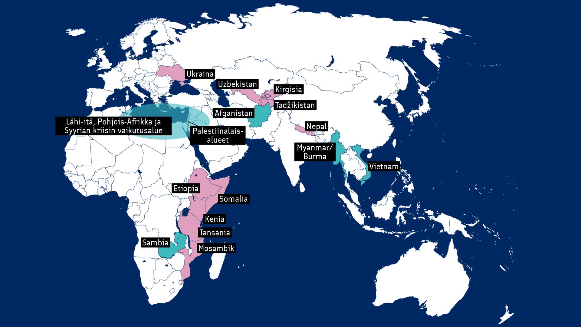 Kartta Suomen tukemista kumppanimaista. Avaa kartta suurempana.