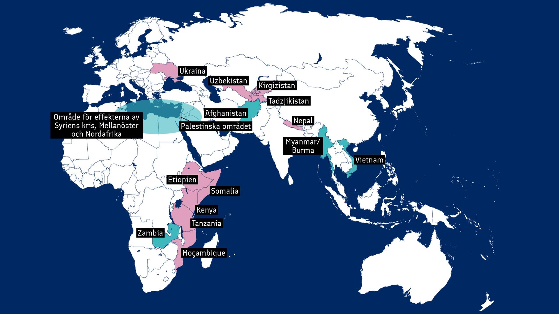 Karta om länder som Finland stöder